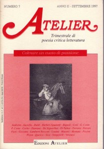 Copertina della rivista Atelier, n. 7