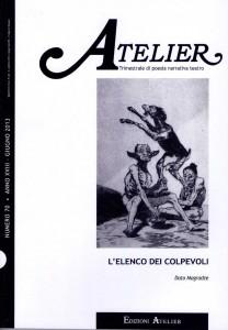 Copertina della rivista Atelier, n. 70