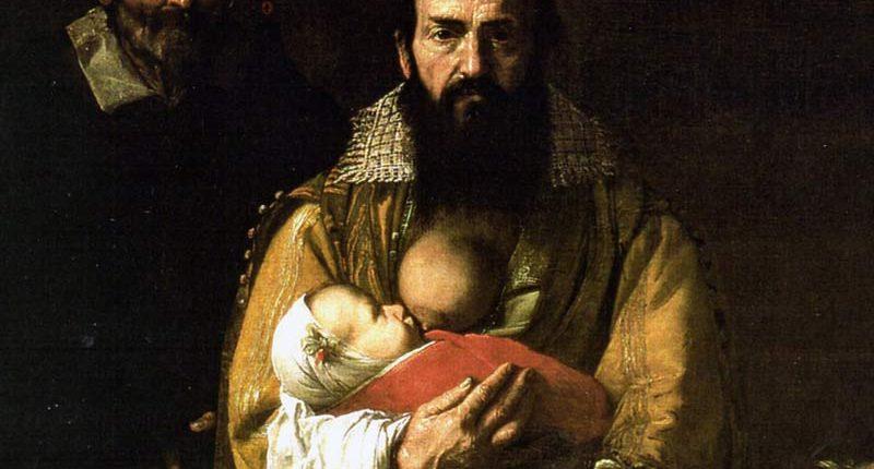 Dettaglio del dipinto 'Maddalena Ventura con il marito e il figlio' (o Donna barbuta) di Jusepe de Ribera (noto anche come Spagnoletto)