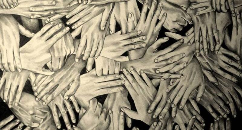 Humanitas, grafite su tavola (2014), 105 x 69 cm, di Massimo Ezio Domenico Costanzo