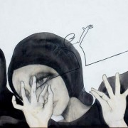 Mina, di Elena Boccoli [dettaglio - tecnica mista su tavola, 62x81 cm, 2012]