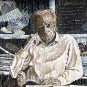 Mario Luzi, di Fiorella Nuti, Cartone industriale su tavola di legno,tecnica mista olio, collage-decollage, cm 70 x 60, 2014