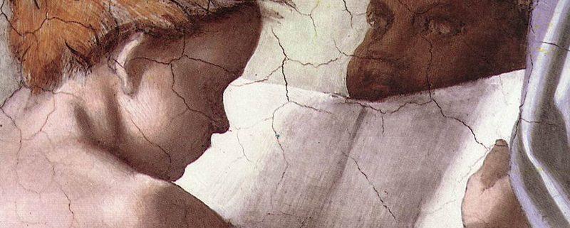 Michelangelo Buonarroti, La Sibilla Delfica, particolare, Cappella Sistina