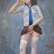 Il sapore della birra, di Alfonso e Nicola Vaccari, olio su tela, cm 80x120, 2012