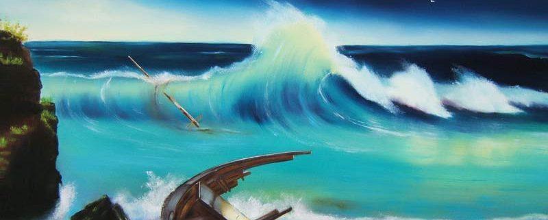Il naufragio, di Barbara Ghisi, 2004, olio su tela, cm 40x100 (collezione privata)