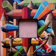 I sostenitori del nulla, di Michele Cara, 2015, pennarello pantone su tela 40x40 cm