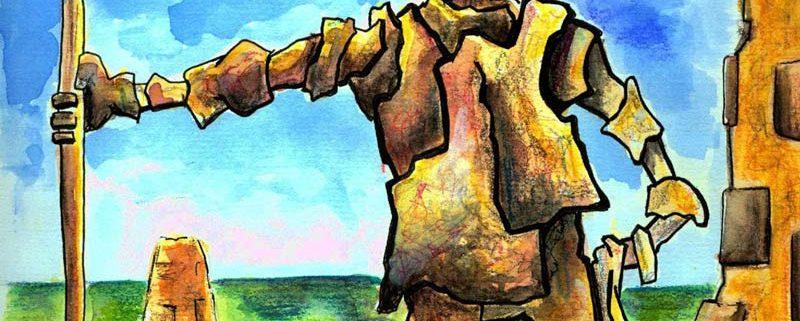 L'eremita, di Salvatore Carvelli, acrilico, 25x50 cm