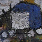 Il mio carro funebre ha perduto una ruota, di Raimondo Izzo (tecnica mista, 19.5x16x0.6 cm)