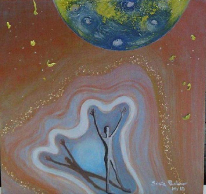 Le ali dell'incomprensibile, di Silvia Pastano, acrilico e sabbia, tela, 2012 (qui uno degli elementi del dittico), 50 cm x 100 cm x 4 cm