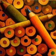 Michele Cara, NON ALLINEAMENTO – 2015 – pennarelli su tela, cm 40*40 – collezione MURRU