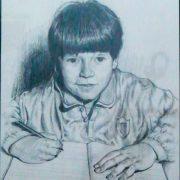 Primo giorno di scuola, di Giovanni Miuccio, matita, 23x32 cm