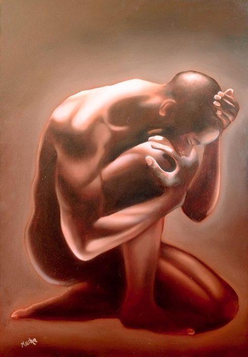 Uomo in preghiera, di Nacha Piattini