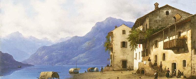 Veduta di Sala sul Lago di Como, di Giuseppe Canella, 1847