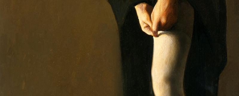 Gertrude, di Vittorio Polidori, 1985, olio su tavola, cm 40 x 70