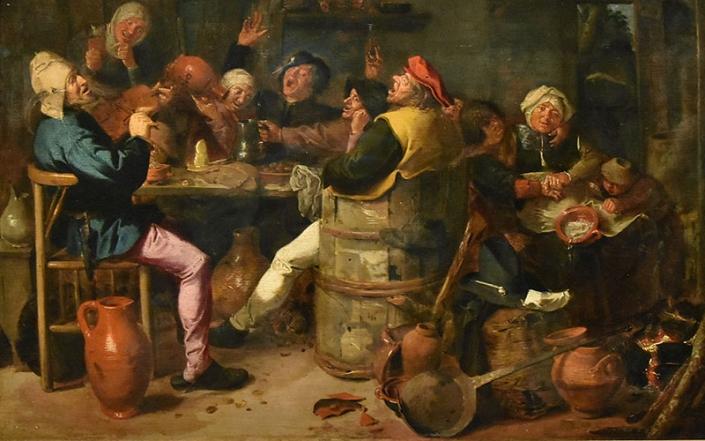 Ubriachi all'osteria, in un'opera di Adriaen Brouwer (ca.1605-1638)