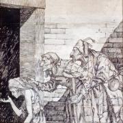 Scena dei Promessi Sposi: contadini in cerca di pane. Acquerello di Giovanni Battista Galizzi (1882-1963), Lecco (LC), Musei Civici di Lecco. Museo Manzoniano