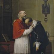 L'innominato e il cardinale Federigo Borromeo, dipinto di Alessandro Guardassoni, 1860
