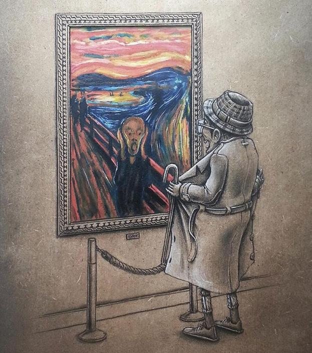 """Exhibition (""""L'urlo"""" di Edvard Munch), di Pez"""