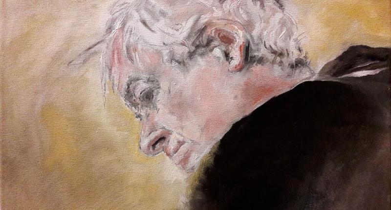 Milo De Angelis, di Cristiano Poletti, olio su tela